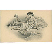 Charming Semi-Nude Lady With Dog by M. M. Vienne