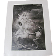 Devil Tempting A Man Two Nude Women Print