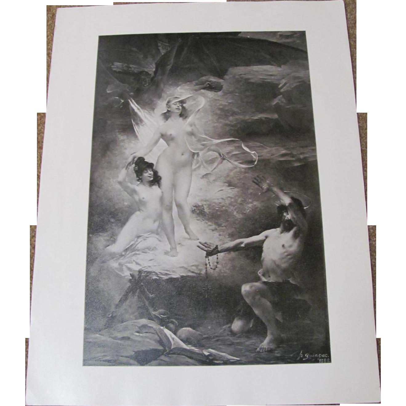 Devil Tempting A Man Two Nude Women Print
