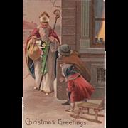 Embossed Old World Saint Nicholas  Santa Children PFB Postcard