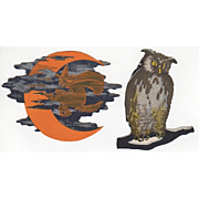 Pair of Small Halloween Dennison Cut-Outs Owl & Witch