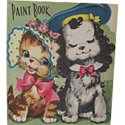 1943 Cat & Dog Paint Book Unused