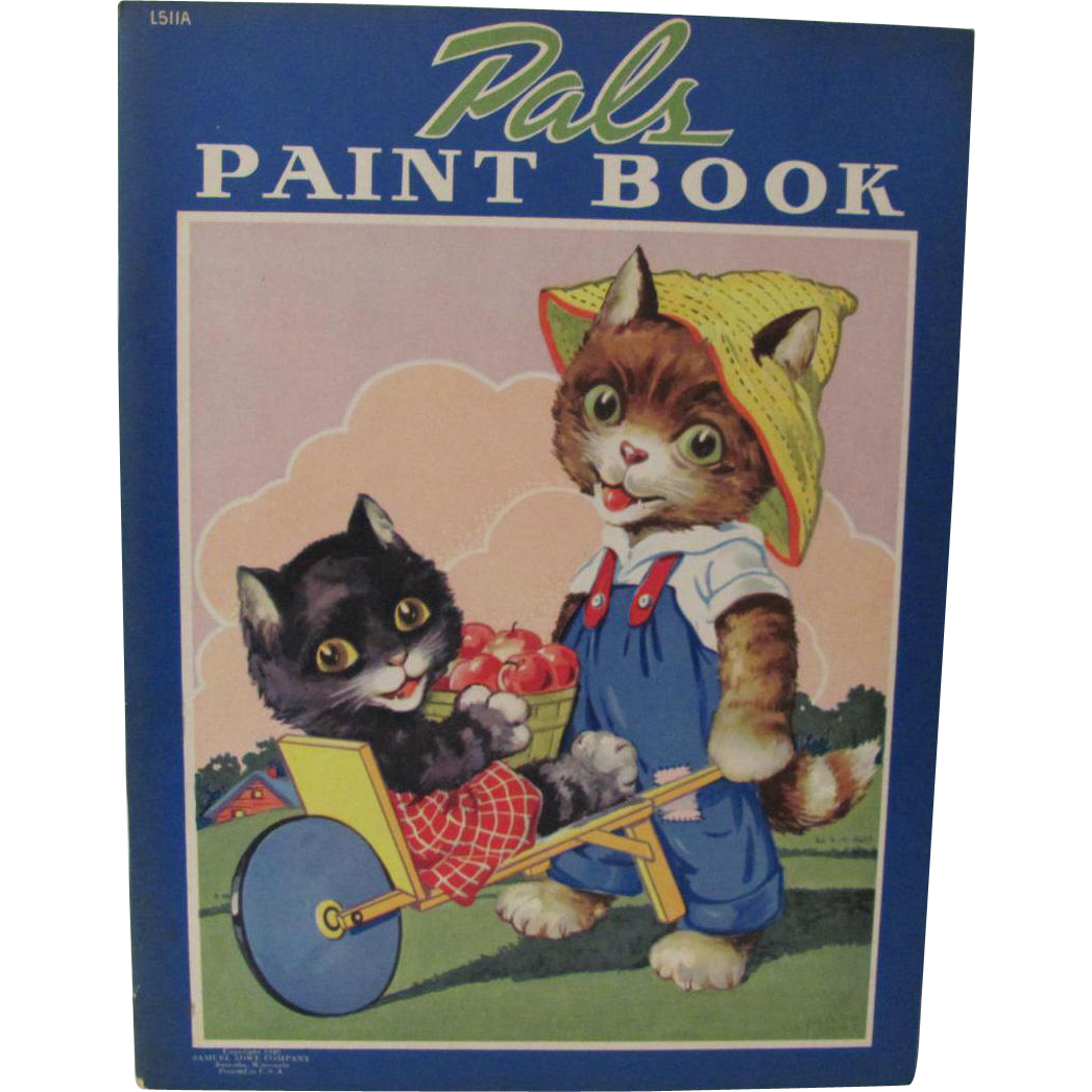 1940 Pals Paint Book Dressed Cats Unused