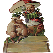 Early Large Die Cut Three Pigs Under Mushroom