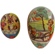 Pair Easter Paper Mache Eggs Western Germany
