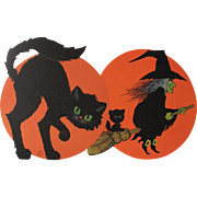 Pair Halloween Hallmark Cat & Witch Decorations