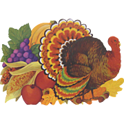 Pair Hallmark Thanksgiving Turkey & Pumpkin Fruit Decorations