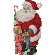 Hallmark Fuzzy Suit Santa Child Toys Tall Card