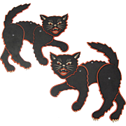 Pair Halloween Small Jointed Cats Flat Surface