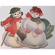 Large Mr & Mrs Snowman Dennison Die-Cut Decorations