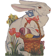 Die Cut White Rabbit With Easter Basket Self Standing