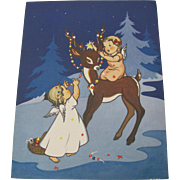 Christmas Reindeer with Two Angels Print