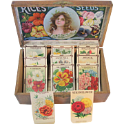Rice's Oak Seed Box 11 Empty Flower Seed Packets Great Graphics