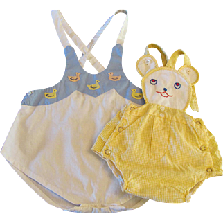 Two Vintage Baby Rompers
