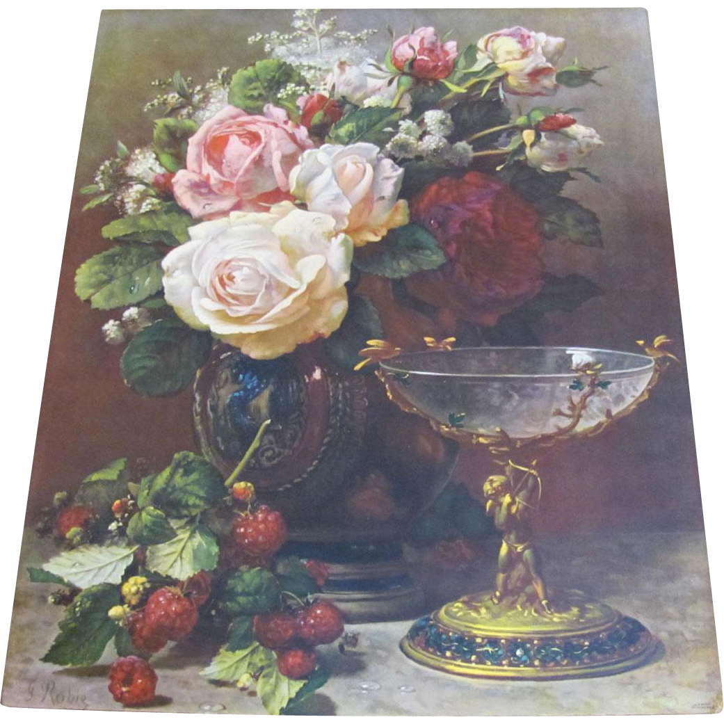 Large Bouquet Cabbage Roses Print By Jean Baptiste Robie