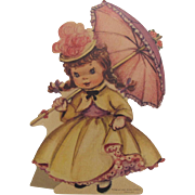 Charming Girl with Umbrella Standup Die-Cut