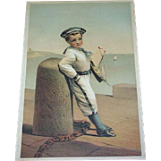 Lithograph Of Young Sailor Boy With Toy Sail Boat