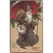 Santa In Brown Suit Red Umbrella Embossed Postcard