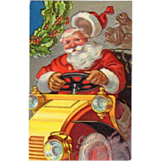 Embossed Postcard Santa Driving Yellow Car