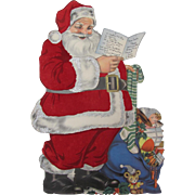 Large Fuzzy Santa Claus Reading Card List Toys Self Standing