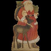 Santa With A Deer German Stand-Up Die-Cut