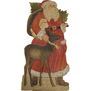 Santa With A Deer German Stand-Up Die-Cut
