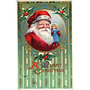 1914 Embossed Postcard Santa Holding a Doll