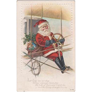 Santa Flying His Bi-Plane Embossed Postcard