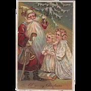 Embossed PBF Santa Two Praying Girls Postcard