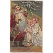 Embossed PBF Santa Two Praying Girls Postcard