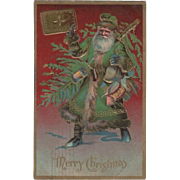 Embossed Santa Green Suit Christmas Postcard