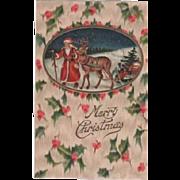 Santa Reindeer Embossed Postcard