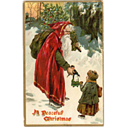 1909 Embossed Postcard Santa Doll