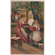 Santa Brown Suit Mom Playing Piano Girl Singing Postcard