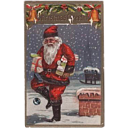 Santa Carrying Packages Embossed Postcard