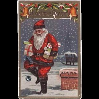 Santa Carrying Packages Embossed Postcard