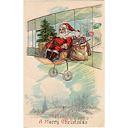 1916 Embossed Santa In Bi-Plane Postcard