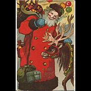 Embossed Santa With Reindeer Postcard
