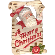 Bell Ringing Santa Die-Cut Heavily Embossed German