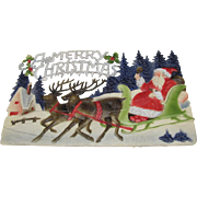 Embossed Santa In Sleigh Two Reindeer Die Cut German