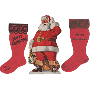 Pair Christmas Money Sock Holders Standup Santa