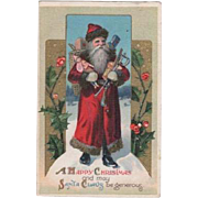 Santa Carrying Arms Full Toys Embossed Postcard