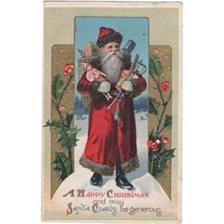 Santa Carrying Arms Full Toys Embossed Postcard