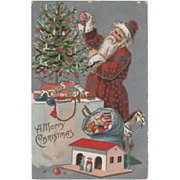 Santa Christmas Tree with Toys Postcard