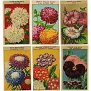 12 Gorgeous Lithograph French Flower Seed Labels #3