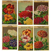 12 Gorgeous Lithograph French Flower Seed Labels #1