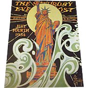 Leyendecker Statue Of Liberty 7/7/1934 Saturday Evening Post (cover only)