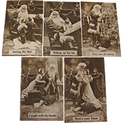 5 Santa Claus Sepia Toned Postcards