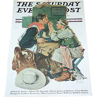 Rockwell 1930 Saturday Evening Post Cover Only-Gary Cooper