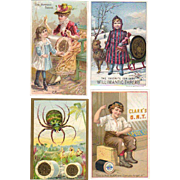 Four Sewing Thread Advertising Trade Cards